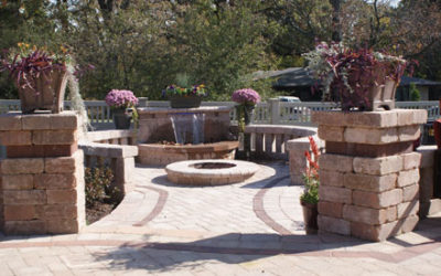 Unilock Pavers Entertainment Patio, Walkway, & Waterfall